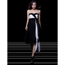 Affordable Sexy Empire Sweetheart Knee Length Satin Homecoming Dresses
