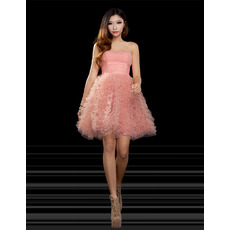 Discount A-Line Strapless Short Ruched Organza Homecoming Dresses