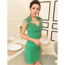 Discount Sexy Sheath Short Homecoming Dresses with Short Sleeves