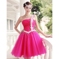 Inexpensive A-Line One Shoulder Short Homecoming/ Party Dresses
