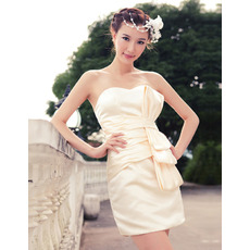 Affordable Sexy Column Sweetheart Short Satin Homecoming Dresses