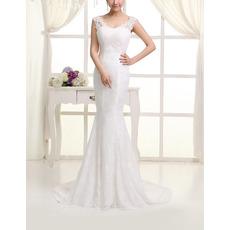 Inexpensive Sexy Lace Mermaid Round/ Scoop Sweep Train Wedding Dresses