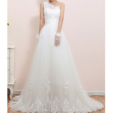 Inexpensive Elegant One Shoulder Sweep Train Organza Wedding Dresses