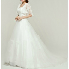 Affordable Custom A-Line Sweep Train Wedding Dresses with Cap Sleeves