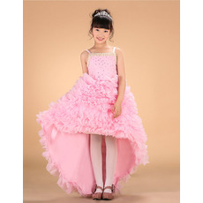 Affordable Straps High-Low Asymmetric Ruffle Little Girls Party Dresses