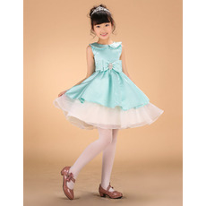 Cute A-Line Mini/ Short Satin Layered Skirt Little Girls Holiday Dress