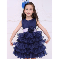 Discount Short Satin Layered Skirt Flower Girl Dresses with Sashes