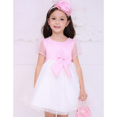 Lovely Empire Short Pink Flower Girl Dresses with Short Sleeves