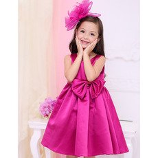 Custom Empire Sleeveless Short Satin Little Girls Holiday Dresses