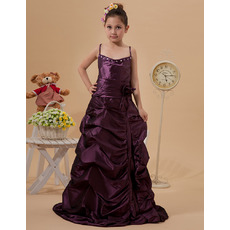 Cute Spaghetti Straps Floor Length Taffeta Junior Bridesmaid Dresses