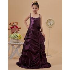 Cute Spaghetti Straps Floor Length Taffeta Junior Bridesmaid Dresses