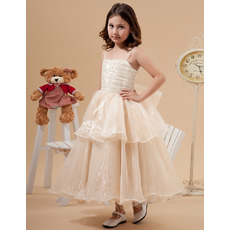 2015 Spaghetti Straps Tea Length Organza Little Girls Party Dresses