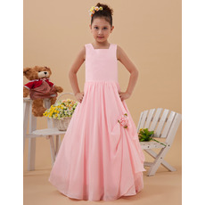 Custom A-Line Floor Length Chiffon Pink First Communion Dresses