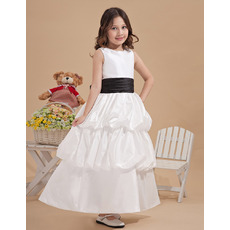Inexpensive Ball Gown Ankle Length Taffeta First Communion Dresses