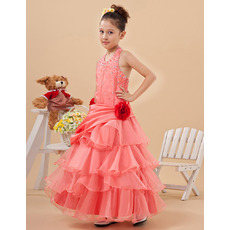 Beautiful Halter Ankle Length Layered Skirt Little Girls Party Dresses