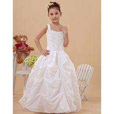 2015 Style Ball Gown Pick-Up Skirt Taffeta First Communion Dresses