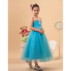 Custom Sweetheart Tea Length Satin Tulle Little Girls Party Dresses