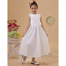 Affordable Simple Taffeta Tea Length First Holy Communion Dresses