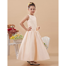 2015 New Style A-Line Ankle Length Satin Flower Girl Dresses