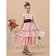 Custom Cap Sleeves Tea Length Layered Skirt First Communion Dresses