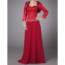 Affordable Floor Length Chiffon Mother Dresses with Jackets for Wedding