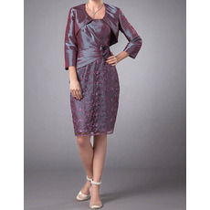 Modest Column Knee Length Taffeta Lace Mother Dresses with Jackets