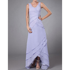 Custom Sheath V-Neck High-Low Chiffon Mother of the Bride Dresses