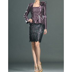 Discount Sheath/ Column Short Taffeta Lace Mother Dresses with Jackets