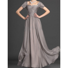 2015 Long Chiffon Mother of the Bride Dresses with Short Sleeves