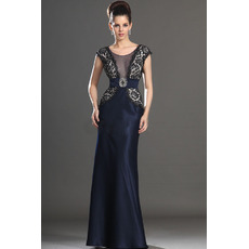 Custom Sheath Floor Length Lace Satin Mother of the Bride Dresses