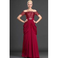 Discount Off-the-shoulder Lace Chiffon Mother of the Bride Dresses