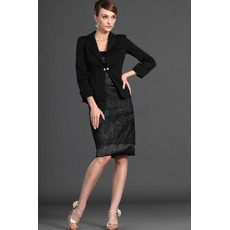 Modest Column Short Black Mother of the Bride Dresses with Jackets