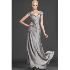 Custom A-Line V-Neck Floor Length Satin Mother of the Bride Dresses