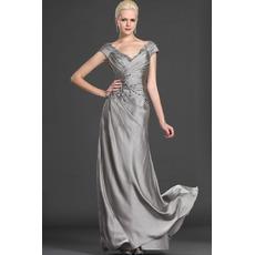 Custom A-Line V-Neck Floor Length Satin Mother of the Bride Dresses