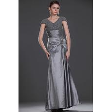 Elegant Trumpet V-Neck Cap Sleeves Long Mother of the Bride Dresses