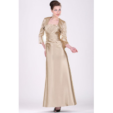 Affordable Floor Length Satin Mother of the Bride Dresses with Jackets