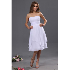 Affordable A-Line Strapless Chiffon Short Reception Wedding Dresses