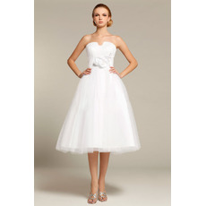 Inexpensive Strapless Knee Length Short Garden Wedding Dresses