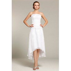Vintage Strapless High-Low Chiffon Short Reception Wedding Dresses