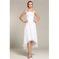 Vintage Strapless High-Low Chiffon Short Reception Wedding Dresses
