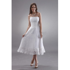 Custom Strapless Tea Length Chiffon Short Reception Wedding Dresses