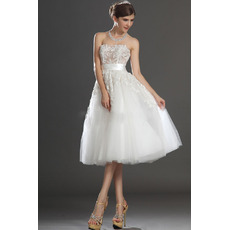 Affordable A-Line Strapless Knee Length Satin Tulle Wedding Dresses