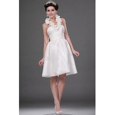 Discount Ball Gown Halter Satin Short Wedding Dresses for Summer