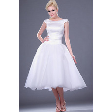 Vintage Ball Gown Cap Sleeves Knee Length Short Wedding Dresses