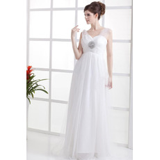 Affordable Elegant Empire Floor Length Chiffon Tulle Wedding Dresses