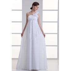 Vintage Empire One Shoulder Floor Length Chiffon Fall Wedding Dresses
