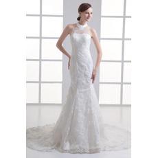 Custom Mermaid High-Neck Court Train Satin Tulle Wedding Dresses