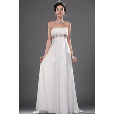 Inexpensive Empire Strapless Sweep Train Chiffon Wedding Dresses