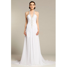 Sexy Sheath Halter Sleeveless Chapel Train Chiffon Wedding Dresses