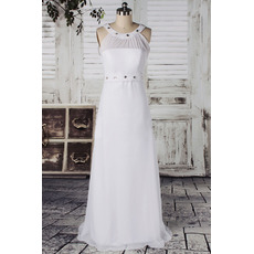 Affordable Round Neck Chiffon Column Floor Length Wedding Dresses